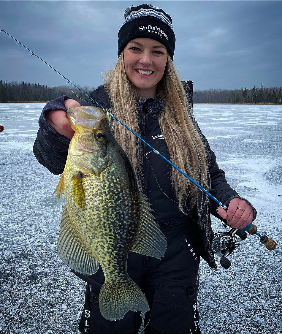 karlee tower prostaffer holding a crappie