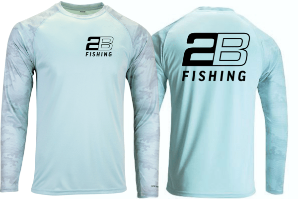 2B FISHING long sleeve teal sun shirt with patterned sleeves